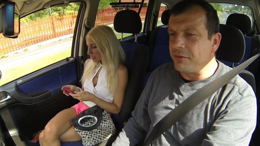 Really hot blonde czech hooker sucking cock in car