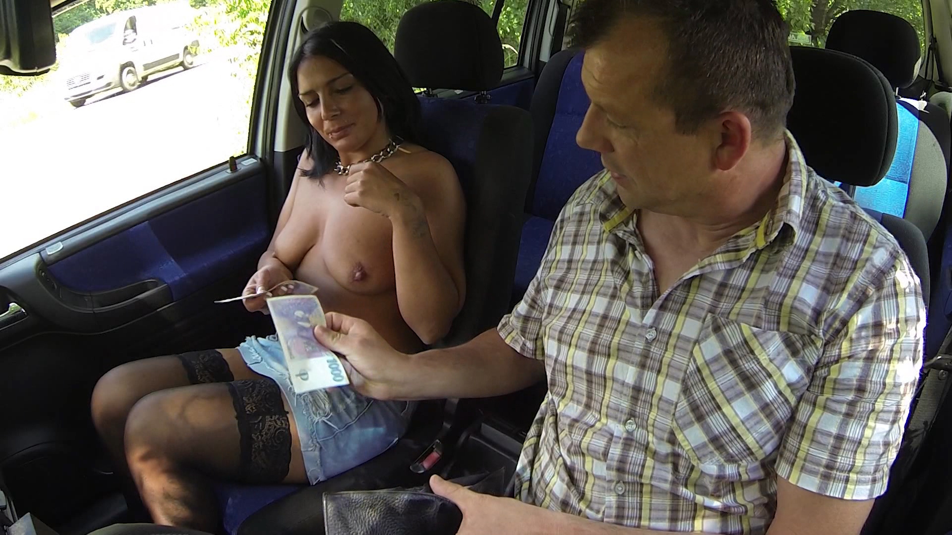Old Czech Bitch fucked in the car – real czech hooker video